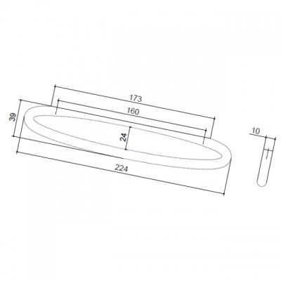 Ручка-скоба 160 мм, отделка сталь шлифованная S531160160-66