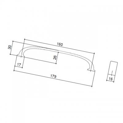 Ручка-скоба 160 мм, отделка сталь шлифованная S530960160-66