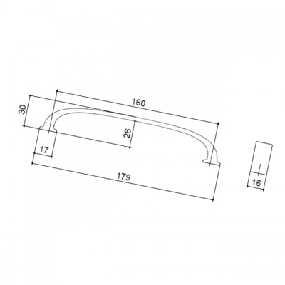 Ручка-скоба 160 мм, отделка хром глянец S530960160-08