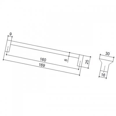 Ручка-скоба 160мм, отделка хром матовый + транспарент прозрачный 8.1113.0160.45-93