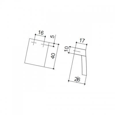 Ручка-скоба 16мм, отделка хром матовый + транспарент коричневый 8.1063.0016.45-106