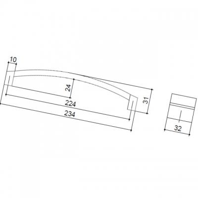 Ручка-скоба 224мм, отделка хром матовый + транспарент прозрачный 8.1062.0224.45-93