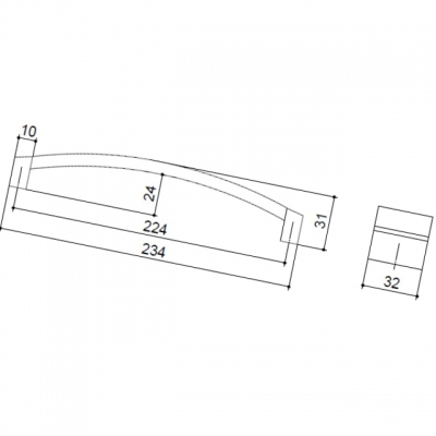 Ручка-скоба 224мм, отделка хром матовый + транспарент коричневый 8.1062.0224.45-106