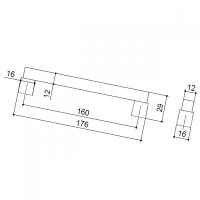 Ручка-скоба 160мм, отделка венге + хром матовый 9382/800