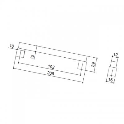 Ручка-скоба 192мм, отделка бук + хром матовый 9381/815