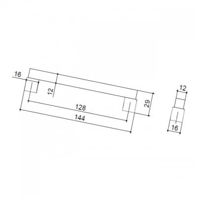 Ручка-скоба 128мм, отделка бук + хром матовый 9383/815