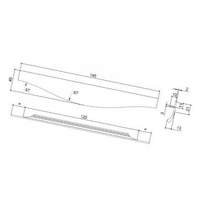 Ручка врезная 145мм, отделка сталь шлифованная 416420145-66