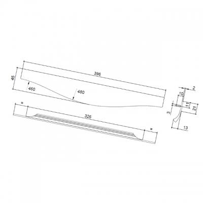 Ручка врезная 396мм, отделка сталь шлифованная 416420396-66
