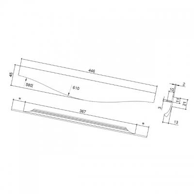 Ручка врезная 446мм, отделка сталь шлифованная 416420446-66