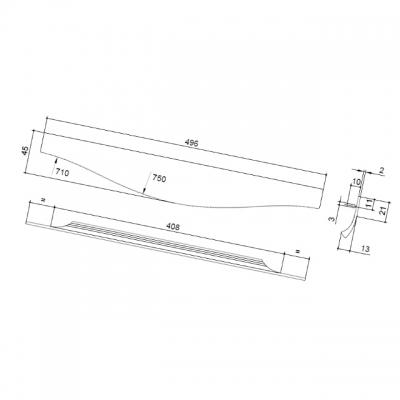 Ручка врезная 496мм, отделка сталь шлифованная 416420496-66