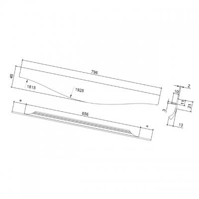 Ручка врезная 796мм, отделка сталь шлифованная 416420796-66