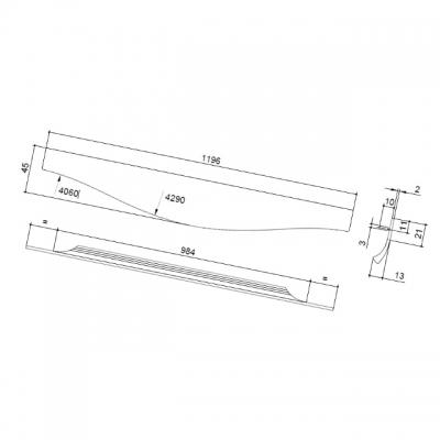 Ручка врезная 1196мм, отделка сталь шлифованная 4164201196-66