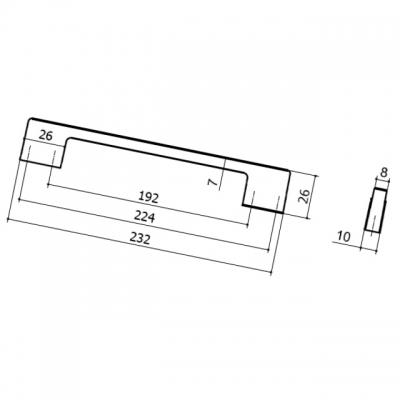 Ручка-скоба 224-192мм, отделка титан 8.1012.224192.0505