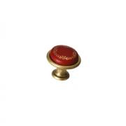 "Ручка-кнопка, отделка бронза античная ""Флоренция"" + керамика ""Бордо"" (1 винт М4х22 + 1 винт М4х25) KITP082122D1GA"
