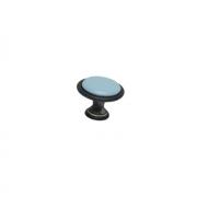 Ручка-кнопка, отделка железо чернёное c декапе + керамика голубая (1 винт М4х22.5 + 1 винт М4х25) P07.15.00.12.M