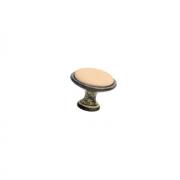 Ручка-кнопка, отделка железо чернёное c декапе + керамика персиковая (1 винт М4х22.5 + 1 винт М4х25) P07.16.00.12.M