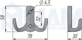 WP1304 Крючок двухрожковый хром
