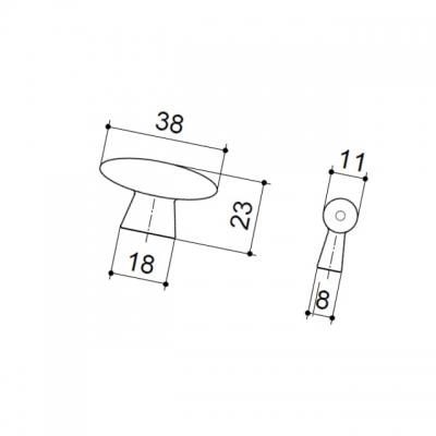 Ручка-кнопка, отделка хром матовый лакированный 10.799.B42