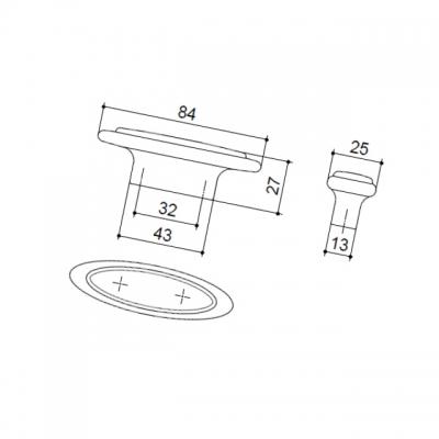 Ручка-кнопка 32мм, отделка серебро античное + вставка 10.808.B17-108