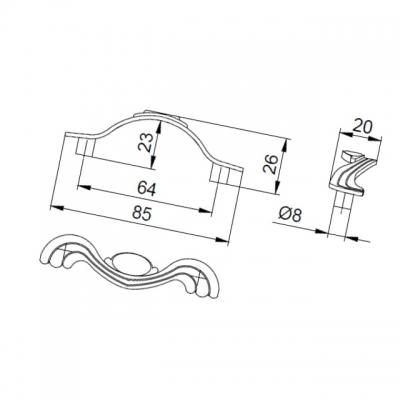 Ручка-скоба 64мм, отделка серебро античное 9.1275.0064.17N