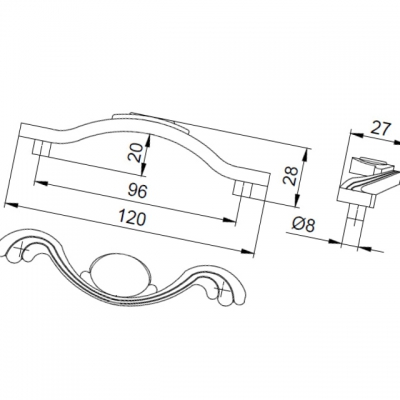 Ручка-скоба 96мм, отделка бронза античная французская 9.1275.0096.25