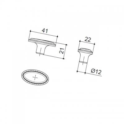 MC 10.798.B28 Ручка-кнопка, отделка бронза матовая 10.798.B28