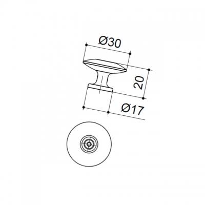 Ручка-кнопка, отделка бронза матовая 10.747.B28
