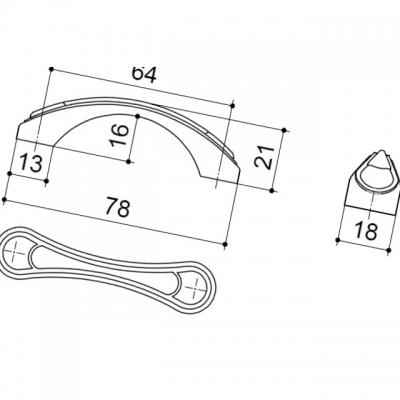 Ручка-скоба 64мм, отделка бронза глянец 9.1277.0064.26