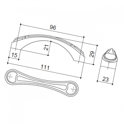 Ручка-скоба 96мм, отделка бронза глянец 9.1277.0096.26