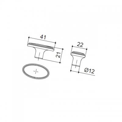 Ручка-кнопка, отделка бронза матовая 10.809.B28