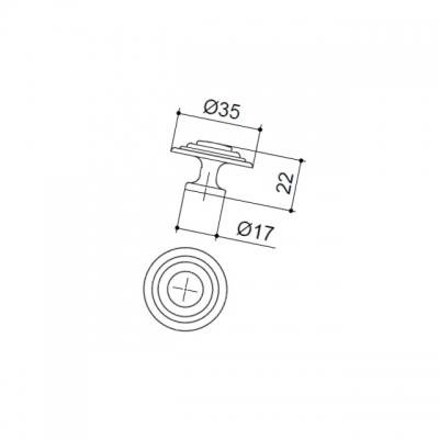 Ручка-кнопка, отделка бронза античная 10.689.B20