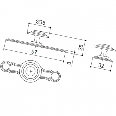 Ручка-кнопка с накладкой, отделка бронза античная 10.692.B20