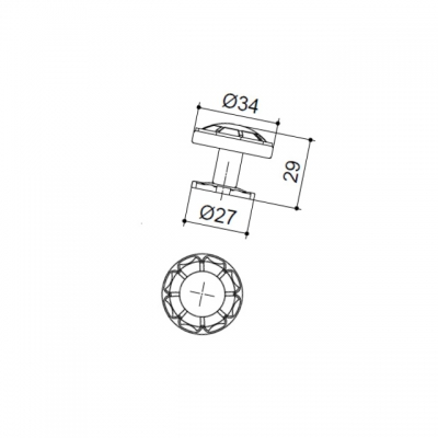 Ручка-кнопка, отделка серебро античное 10.719.B17