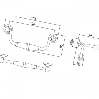 Ручка-скоба 128мм, отделка бронза античная 9.1309.0128.20
