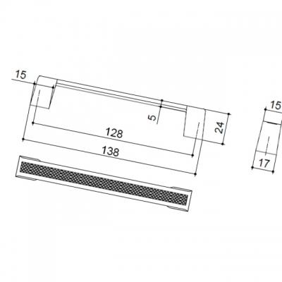 Ручка-скоба 128мм, отделка никель матовый 8.1029.0128.30
