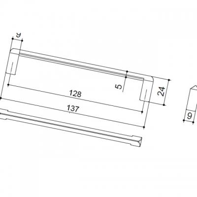 Ручка-скоба 128мм, отделка хром матовый лакированный 8.1020.0128.42