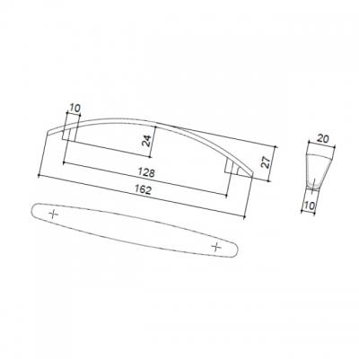 Ручка-скоба 128мм, отделка никель матовый 8.975.0128.30