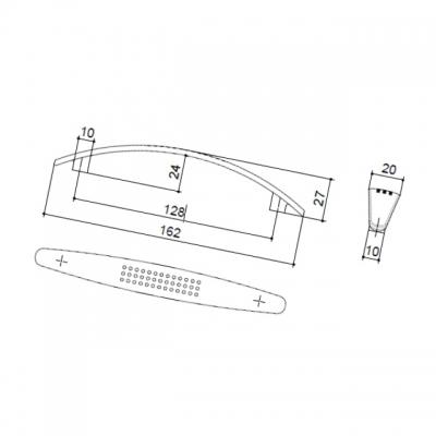 Ручка-скоба 128мм, отделка никель матовый 8.969.0128.30