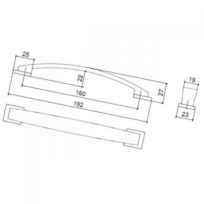 Ручка-скоба 160мм, отделка никель матовый 8.1011.0160.30