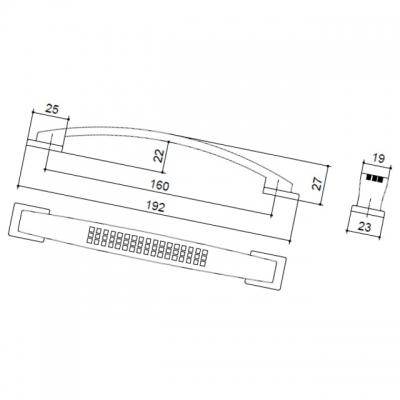 Ручка-скоба 160мм, отделка никель матовый 8.1021.0160.30