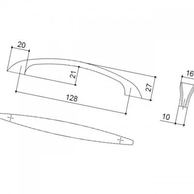 Ручка-скоба 128мм, отделка никель матовый 8.964.0128.30