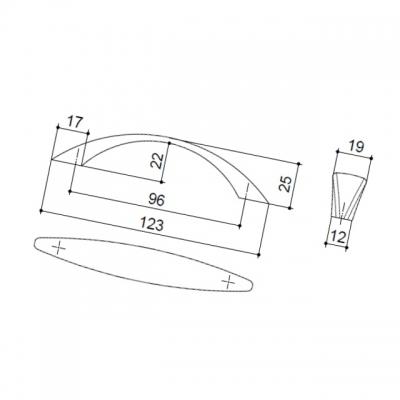 Ручка-скоба 96мм, отделка никель матовый 8.973.0096.30