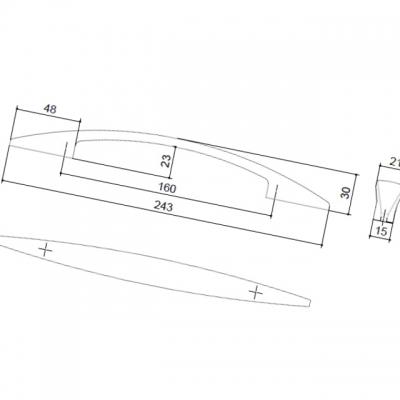Ручка-скоба 160мм, отделка никель матовый 8.977.0160.30