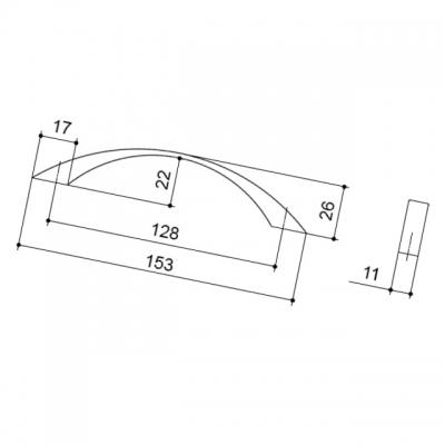 Ручка-скоба 128мм, отделка никель матовый 8.996.0128.30