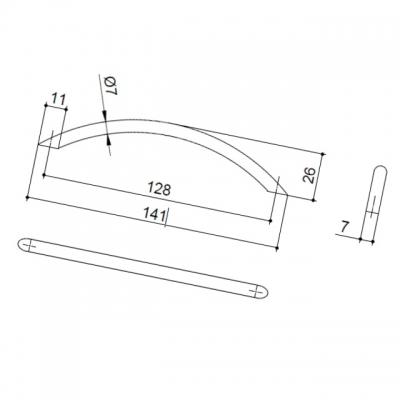 Ручка-скоба 128мм, отделка хром глянец 8.958.0128.40