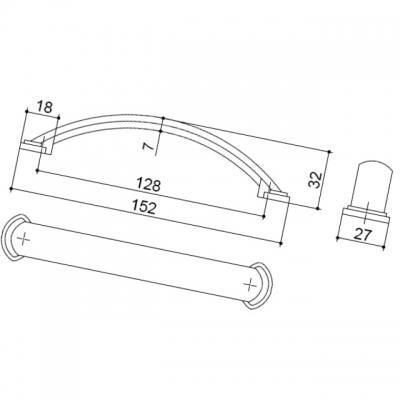 Ручка-скоба 128мм, отделка никель матовый 8.997.0128.30