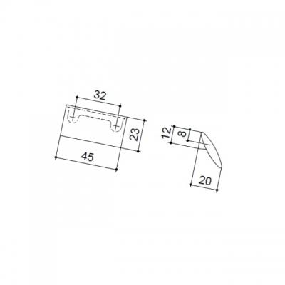 Ручка-скоба 32мм, отделка никель матовый 8.1016.0032.30