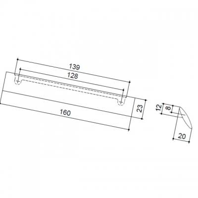 Ручка-скоба 128мм, отделка никель матовый 8.1016.0128.30