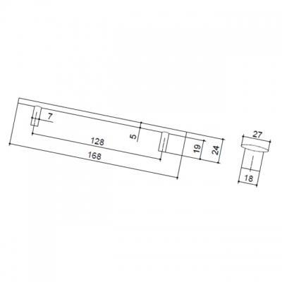 Ручка-скоба 128мм, отделка никель матовый 8.1040.0128.30