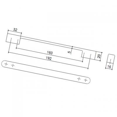 Ручка-скоба 192-160мм, отделка никель матовый 8.1009.192160.30